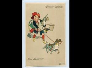 T1399/ Umzug Wohnungswechsel Junge mit Spielzeug + Hund Litho AK ca.1910