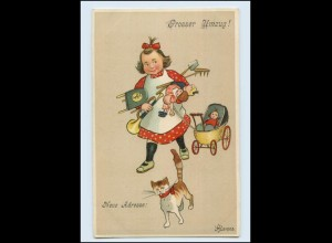 T1397/ Umzug Wohnungswechsel Mädchen mit Katze Puppe Litho AK ca.1910