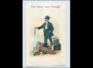 T1396/ Umzug Wohnungswechsel Mann mit Gepäck AK ca. 1905