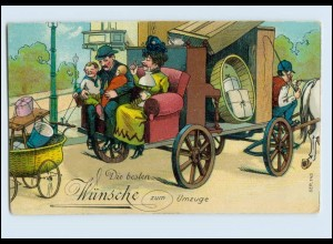 T1394/ Umzug Wohnungswechsel tolle Litho AK Möbeltransport ca.1910