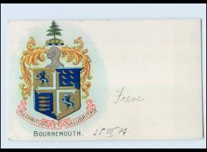 T1356/ Bournemouth schöne Wappen Litho AK 1907 Großbritannien
