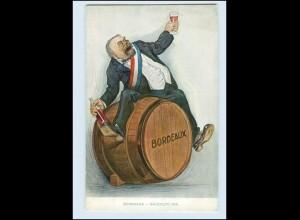 Y4289/ Wein Mann mit Weinfass Bordeaux AK