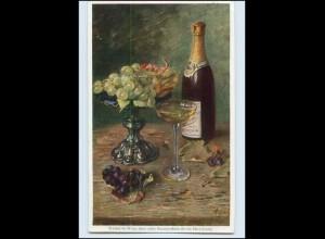 Y4286/ Wein Weinflasche mit Glas und Weintrauben 1931 AK
