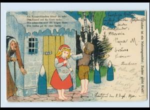 T1341/ Zucker ist ein Nahrungsmittel Märchen Hänsel und Gretel Litho AK 1900