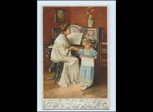 Y4283/ Musik Mutter mit Mädchen am Klavier 1928 Litho AK