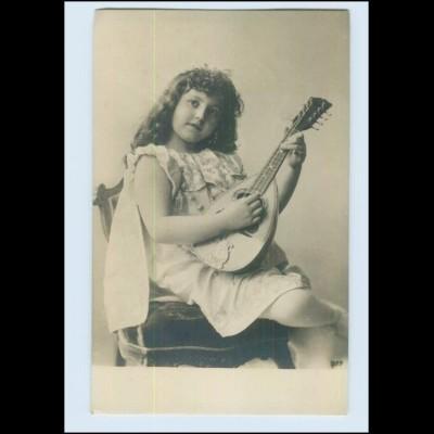 Y4282/ Musik Mädchen mit Laute ca.1900 Foto AK