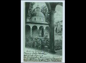 T1302-144./ GRuß aus Potsdam schöne Mondschein AK Mauseleum 1898