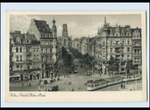 Y4384/ Köln Adolf-H-Platz Straßenbahn AK ca. 1940