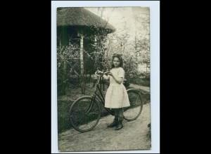 T2112/ Mädchen mit Fahrrad schöne Foto AK 1914