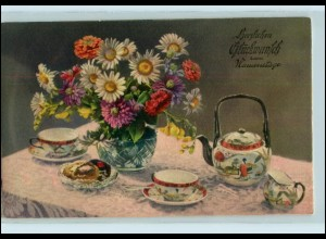 Y4330/ Stilleben Namenstag Tee trinken AK ca.1925