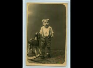 T1944/ Kleiner Junge mit Schaukelpferd Privat Foto AK ca.1925 Spielzeug