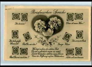 T1940/ Briefmarkensprache Foto AK Posthorn-Marken