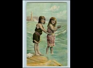 Y4470/ Mädchen am Wasser Badeleben AK ca.1910