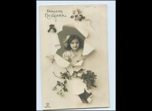 Y4483/ Neujahr hübsches Mädchen Foto Fotomontage AK 1914