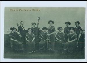 T2641/ Damen-Orchster Funek AK ca.1925 Musik