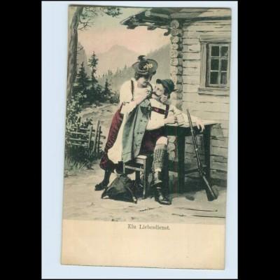 """T2690/ Jäger mit Frau """"Ein Liebesdienst"""" Jagd AK ca.1900"""