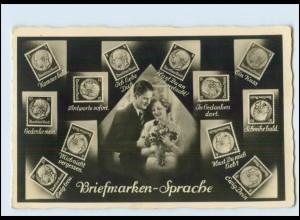 T2684/ Briefmarken-Sprache Foto AK ca.1935