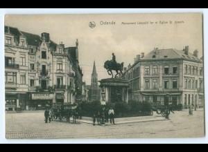 T2973/ Belgien Ostende Monument Léopold ler et Eglise St.Joseph AK