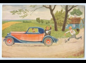 Y4680/ Mann verfolgt Auto Humor AK ca.1920