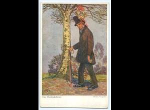 """T3537/ Heinrich Vogeler """"Der Hochzeitsbitter"""" Worpswede Künsterl AK ca. 1912"""