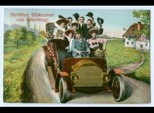Y4661/ Geburtstag Auto AK 1913
