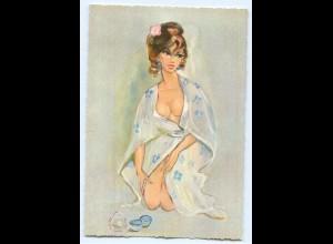 DP215/ Frau mit Badetuch Erotik Pin Up AK ca.1960