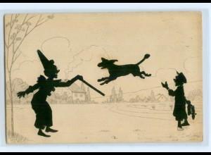 Y4964/ Original Scherenschnitt AK Clwon Hund Dackel ? 1910