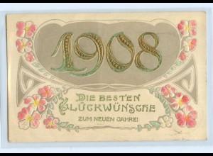 T3660/ Neujahr Jahreszahl 1908 Prägedruck AK