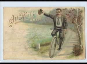 T3605/ Fahrrad Alle Heil! Litho AK 1904