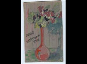 T3740/ handgemalte AK Blumen Blumenvase 1913