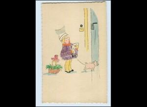 T3773/ Briefmarken Collage AK Mädchen und Schwein ca.1928