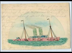 T3719/ Briefmarken Collage schöne AK Dampfer Schiff 1905