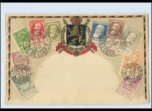 T3710/ Briefmarken AK Belgien Litho Prägedruck 1905