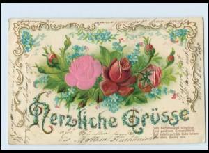 Y4882/ Seide aufgeklebt Herzliche Grüße LithoPrägedruck AK Blumen 1905