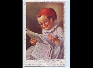 Y4880/ Junge liest Zeitung Türkei, Bund der Deutschen in Niederösterreich AK