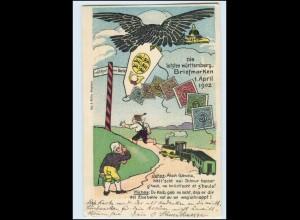 T3726/ Die letzten württemb. Briefmarken 1902 Litho AK Eisenbahn