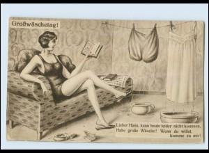 Y4889/ Großwäschetag ! Frau mit Zigarette AK Erotik ca.1920