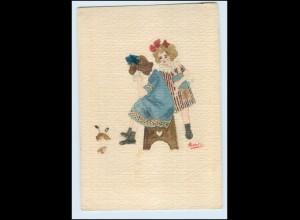 T3762/ Handgemalte AK Kinder mit Puppe 1919