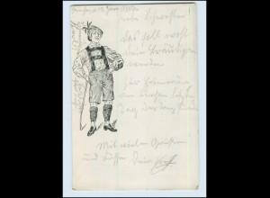 Y4954/ Junge Mann, Wanderer , Trachten AK 1906
