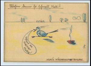 T4979/ Handgemalte AK Vogel - Hukis Wiederauferstehung ! 1942