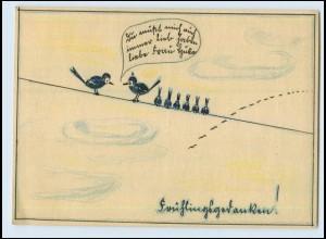 T4981/ Handgemalte AK Vögel Frühlingsgedanken 1942