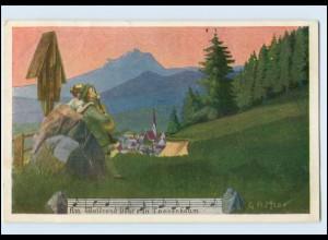 Y4931/ Lieder AK Daheim - Waldabendschein- Verlag: Kistner , ca.1920