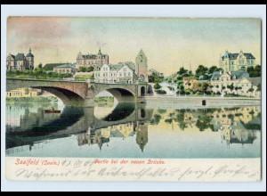 T3095-073./ Saalfeld Partie bei der neuen Brücke 1905 AK
