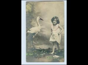 T3880/ Mädchen und Storch Foto AK 1908