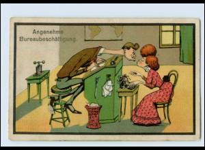 Y4923/ Angenehme Bürobeschäftigung Büro Schreibmaschine Humor Litho AK