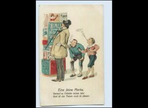 Y4924/ Eine feine Mark - Kinder rauchen, Litfaßsäule Humor Litho AK ca.1920