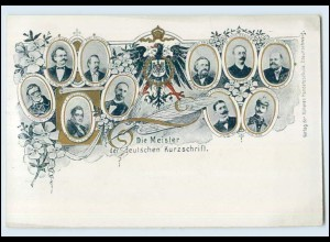 T3826/ Stenographie Die Meister der dt. Kurzschrift AK ca.1900