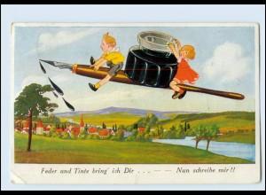 Y5020/ Federhalter Tintenfaß Kinder schöne AK 1927