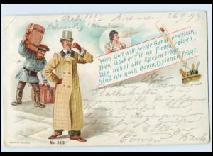 Y5015/ Reisen Kofferträger Mann mit Zylinder Litho AK 1899