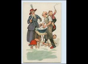 Y5013/ Mann wäscht ab, Kinder, Emanzipation Litho AK ca.1925
